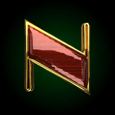n vector golden letter with red wood