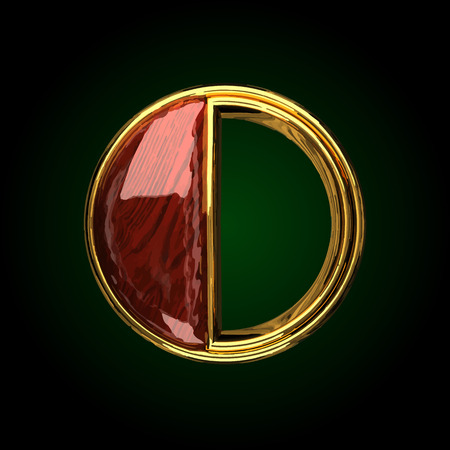 o vector golden letter with red wood