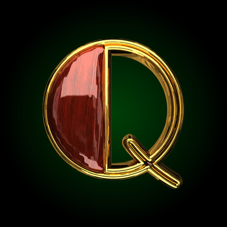 q vector golden letter with red wood Illustration
