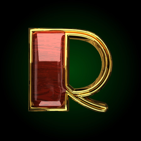r vector golden letter with red wood Illustration