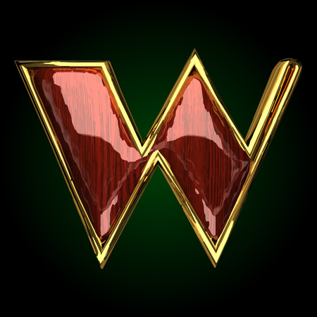 w vector golden letter with red wood