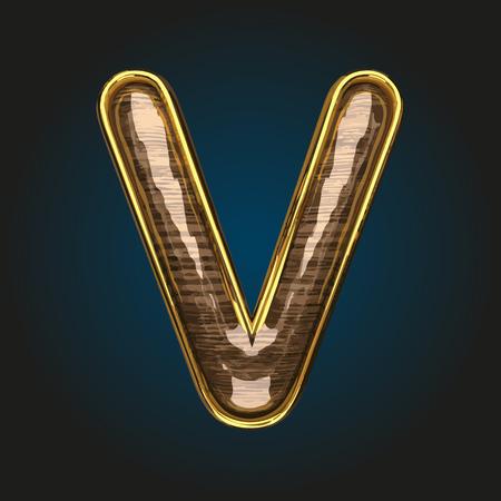v vector golden letter with red wood