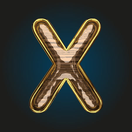 x vector golden letter with red wood