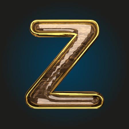 z vector golden letter with red wood Illustration
