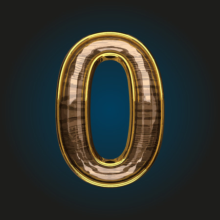 0 vector golden letter with red wood