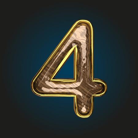 solid figure: lettera d'oro 4 vettore con legno rosso