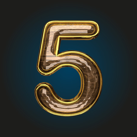 5 vector golden letter with red wood
