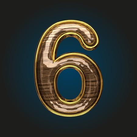 solid figure: 6 lettera d'oro vettoriale con legno rosso