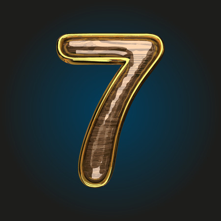 7 vector golden letter with red wood Illustration