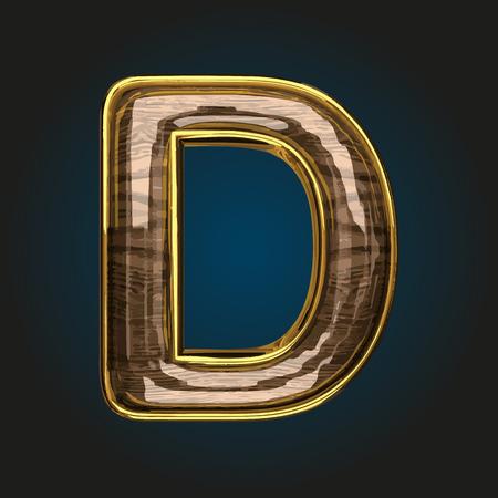 d vector golden letter with red wood Illustration