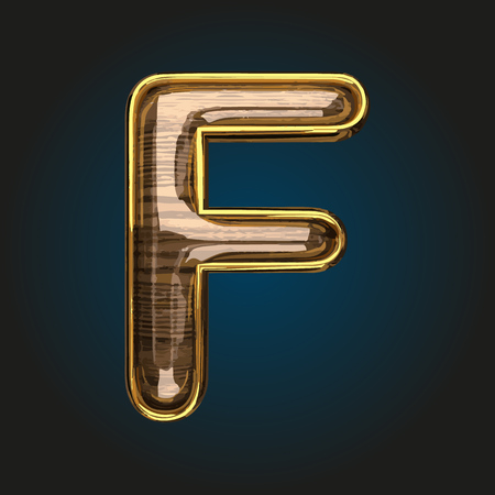f vector golden letter with red wood