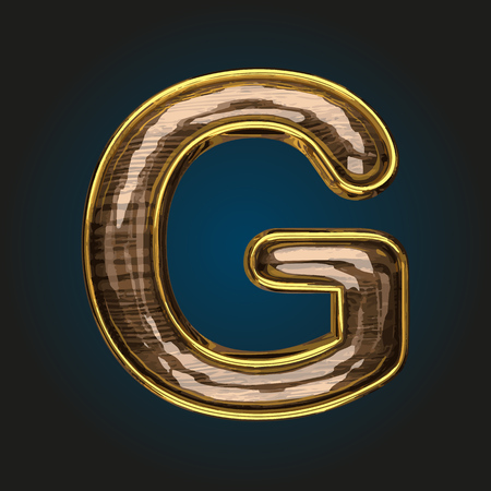 g vector golden letter with red wood