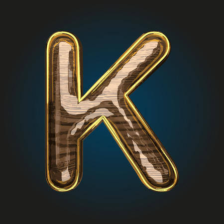 k vector golden letter with red wood