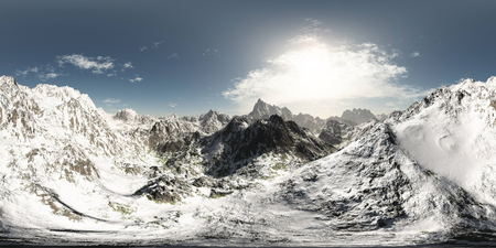 panorama of mountains. made with the one 360 degree lense camera without any seams. ready for virtual reality. 3D illustration Stock Photo