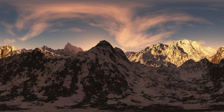panorama of mountains at sunset. made with the one 360 degree lense camera without any seams. ready for virtual reality. 3D illustration