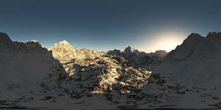ridge: panorama of mountains. made with the one 360 degree lense camera without any seams. ready for virtual reality. 3D illustration Stock Photo