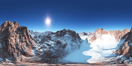 panorama of mountains. made with the one 360 degree lense camera without any seams. ready for virtual reality. 3D illustration Stockfoto