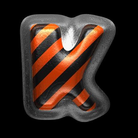 k isolated metal letter on black. 3D illustration