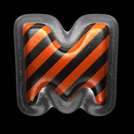 m isolated metal letter on black. 3D illustration Stock Photo