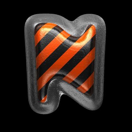 n isolated metal letter on black. 3D illustration Stock Photo