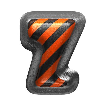 z isolated metal letter on white. 3D illustration