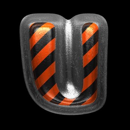 u isolated metal letter on black. 3D illustration