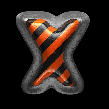 x isolated metal letter on black. 3D illustration Stock Photo