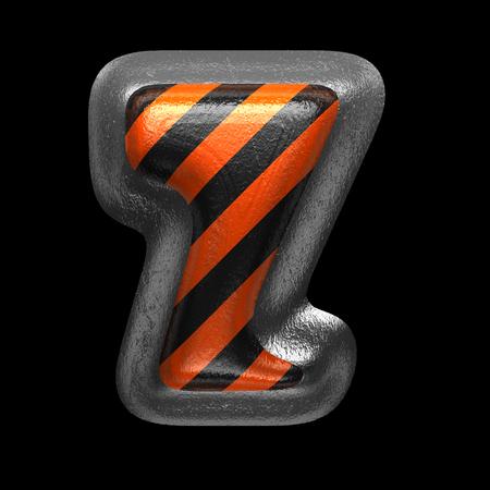 z isolated metal letter on black. 3D illustration