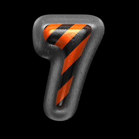 7 isolated metal letter on black. 3D illustration Stock Photo