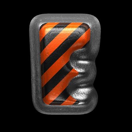 e isolated metal letter on black. 3D illustration