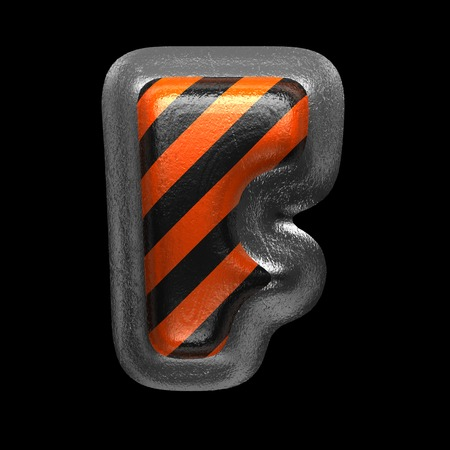 f isolated metal letter on black. 3D illustration Stock Photo