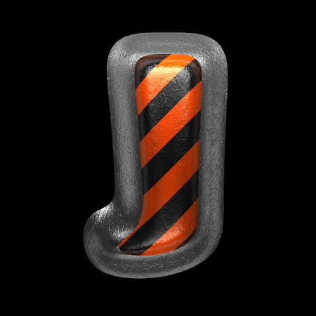 j isolated metal letter on black. 3D illustration