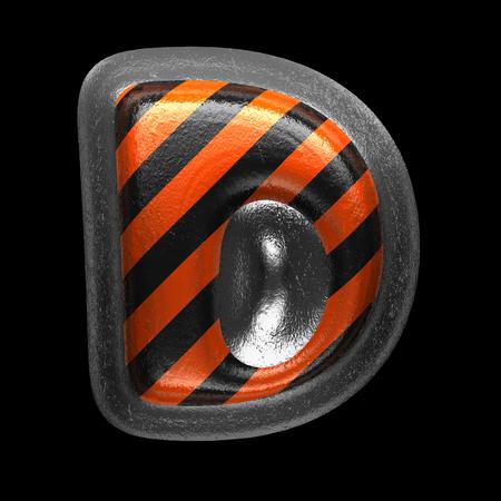 d isolated metal letter on black. 3D illustration