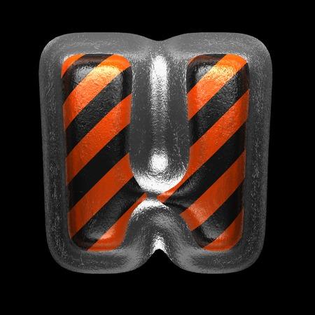 h isolated metal letter on black. 3D illustration