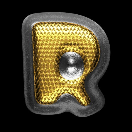 solid figure: r golden and silver isolated letter on black. 3D illustration