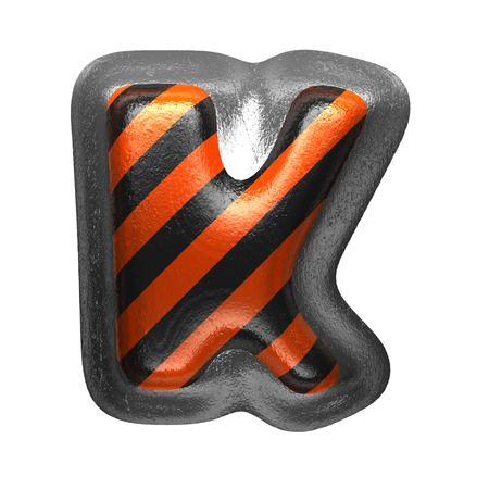 k isolated metal letter on white. 3D illustration Stock Photo