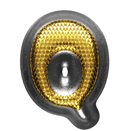 q isolated golden and silver letter. 3D illustration