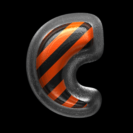 c isolated metal letter on black. 3D illustration Stock Photo