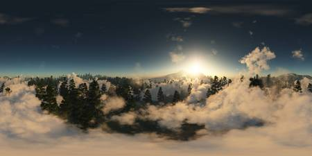 panorama of forest in mountains. made with the one 360 degree lense camera without any seams. ready for virtual reality. 3D illustration Stock Photo