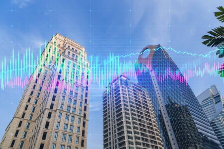 Double exposure of high buldings and forex trading chart. Digital economy, business, money, and financial investment concept.