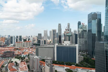 Picturesque panoramic view of Singapore city at day time. Financial and trading center hub in Asia region. Concept of success. Modern buildings in high-tech world. Фото со стока