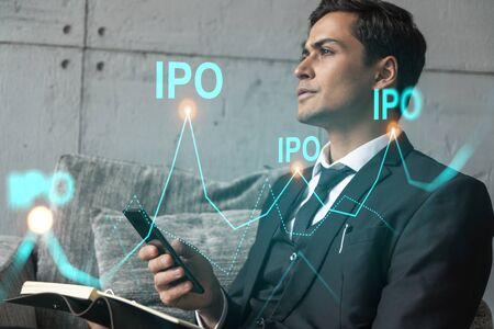 Man in office think and dream datum financial ipo drawing concept. Double exposure. Stock Photo