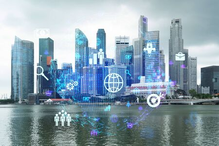 Social media icons hologram over panorama city view of Singapore, Asia. The concept of people networking and connections. Double exposure.