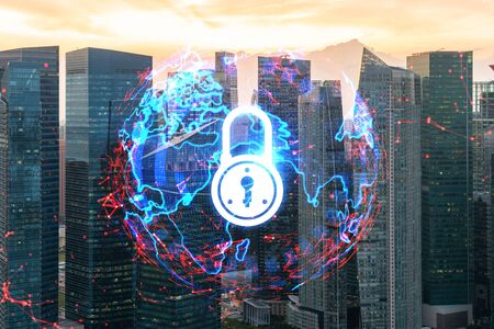 Hologram of Padlock on sunset panoramic cityscape of Singapore, Asia. The concept of cyber security intelligence. Multi exposure.