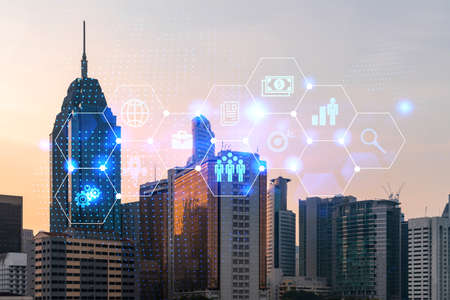 Hologram of Research glowing icons. Sunset panoramic city view of Kuala Lumpur. Concept of innovative technologies to create new services and products in Malaysia, Asia. Double exposure. 스톡 콘텐츠