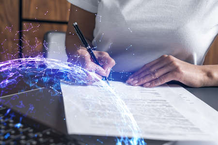 Multi exposure of woman signing a contract and high tech project background. Technology hologram. Concept of Research.