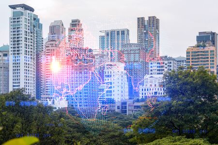 World planet Earth map hologram over panorama city view of Bangkok, Asia. The concept of international connections and business. Multi Exposure. Archivio Fotografico - 150271304