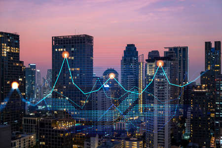 Market behavior graph hologram, sunset panoramic city view of Bangkok, popular location to achieve financial degree in Asia. The concept of financial data analysis. Double exposure. Standard-Bild