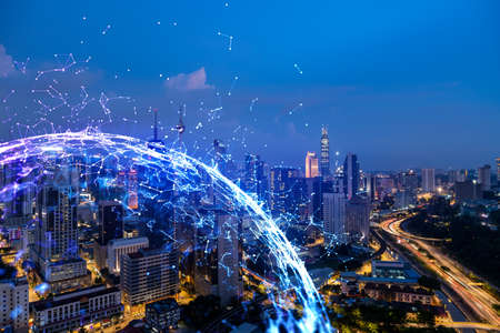 Abstract technology icons, night aerial panoramic cityscape of Kuala Lumpur, Malaysia, Asia. The concept of innovative approach to optimize international business process. Double exposure.