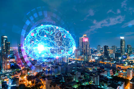 Human brain hologram, aerial panoramic city view of Bangkok at night. Educational cluster in Asia. The concept of artificial intelligence. Double exposure.